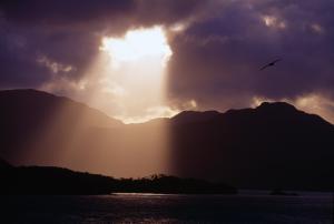 Sun gleaming through a cloud, Pacific Ocean, Chile, South America